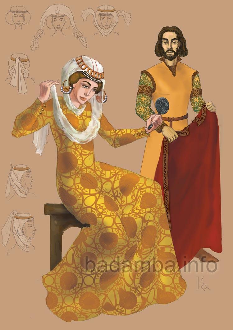 Възстановка на одеждите на Ирина Комнина и Михаил II Асен